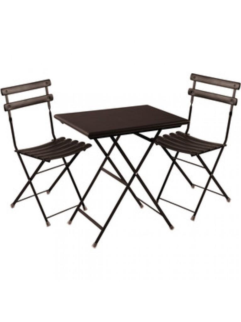 סט שולחן ושני כסאות מתקפלים